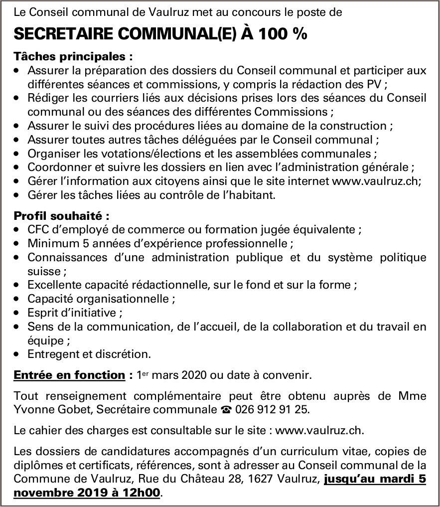 SECRETAIRE COMMUNAL(E) À 100 %, Le Conseil communal, Vaulruz, recherché