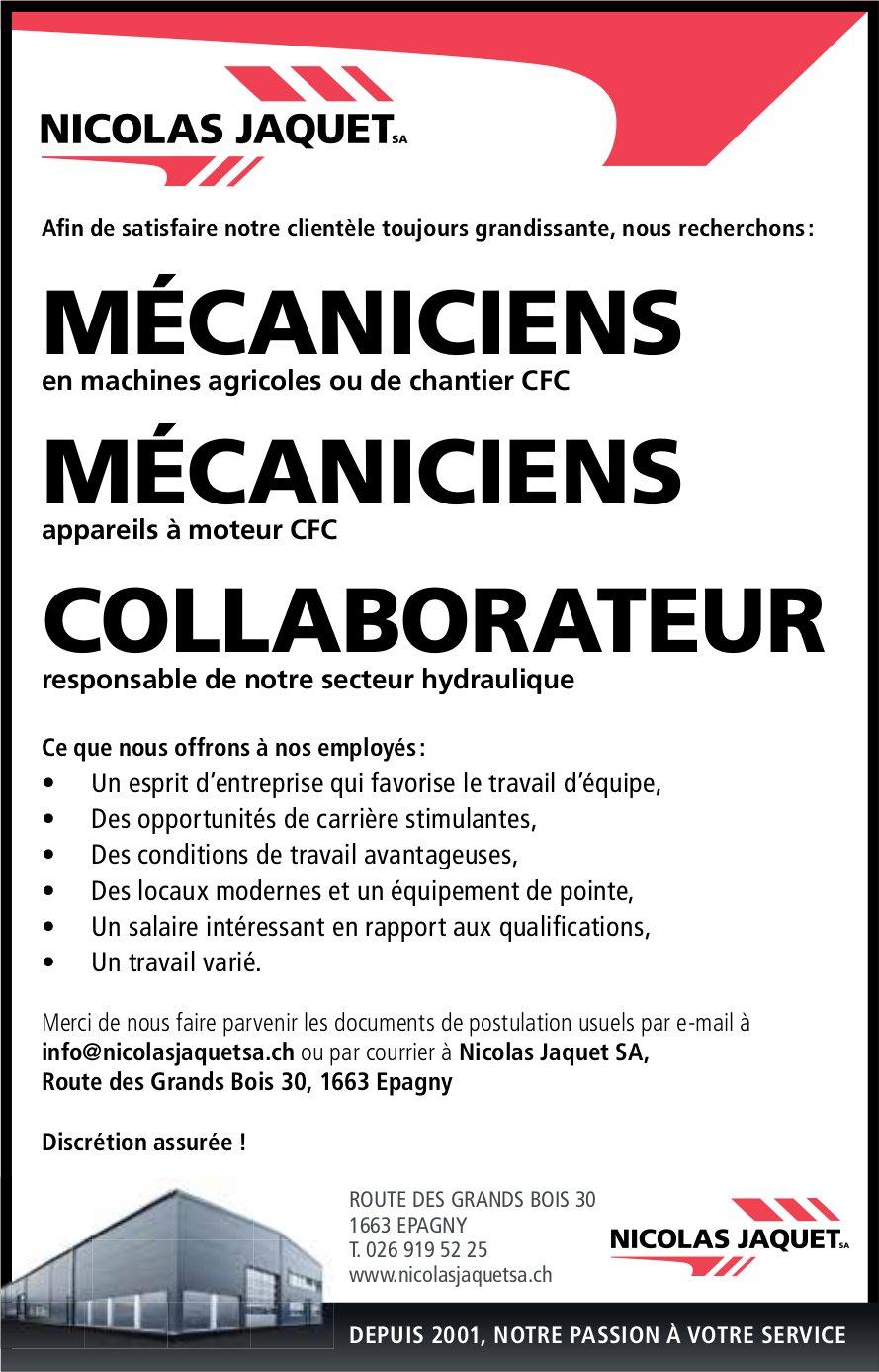 MÉCANICIENS, NICOLAS JAQUET SA, Epagny, recheché