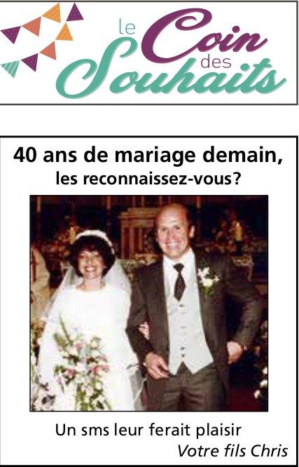 Le Coin des Souhaits - 40 ans de mariage demain, les reconnaissez-vous?