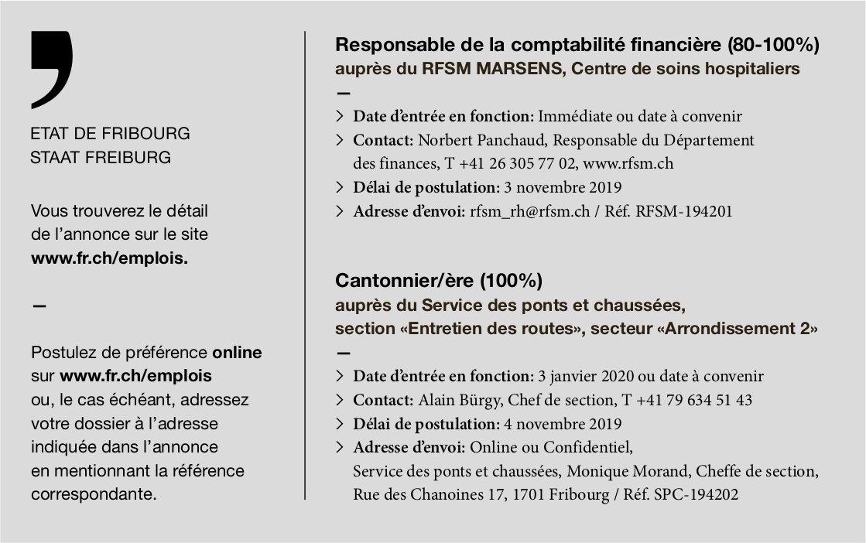 Responsable de la comptabilité financière (80-100%), Centre de soins hospitalier, Marsens, recherché