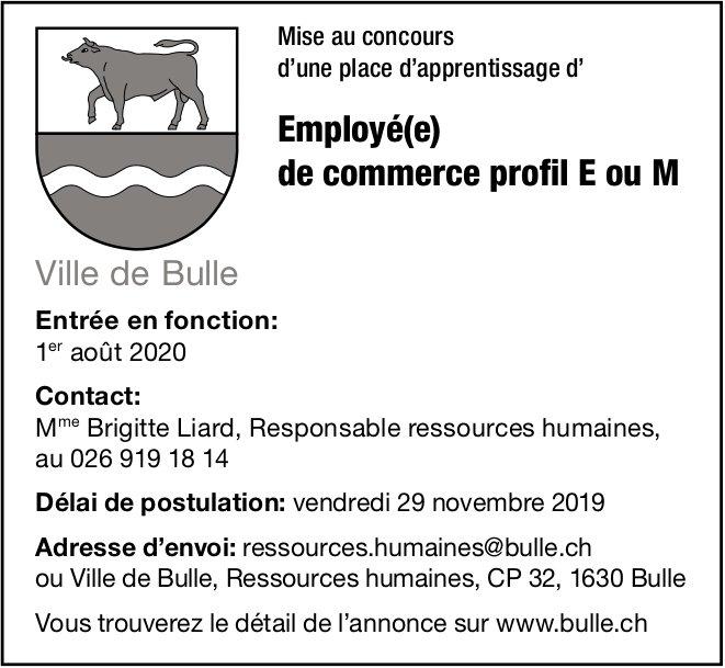 Employé(e) de commerce profil E ou M, Ville de Bulle, recherché