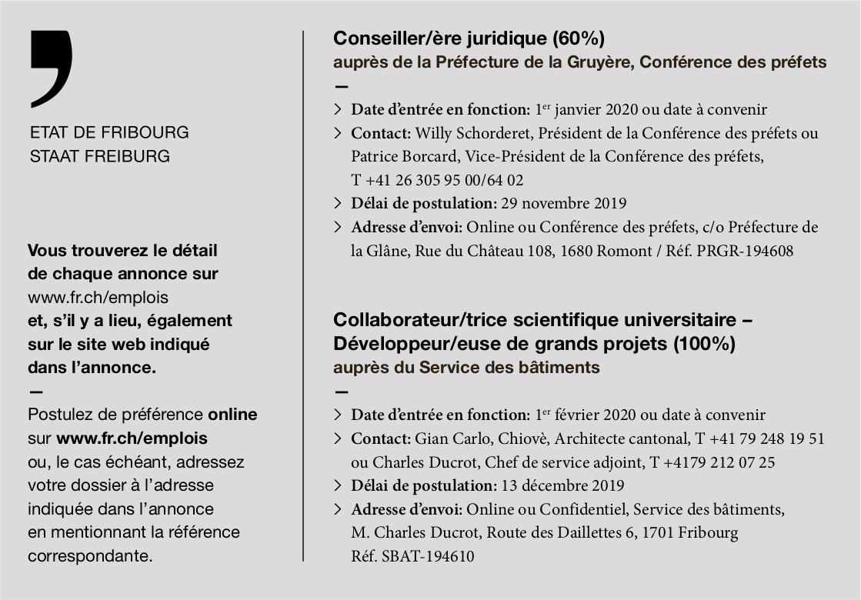Conseiller/ère juridique (60%), Préfecture de la Gruyère, Etat de Fribourg, recherché