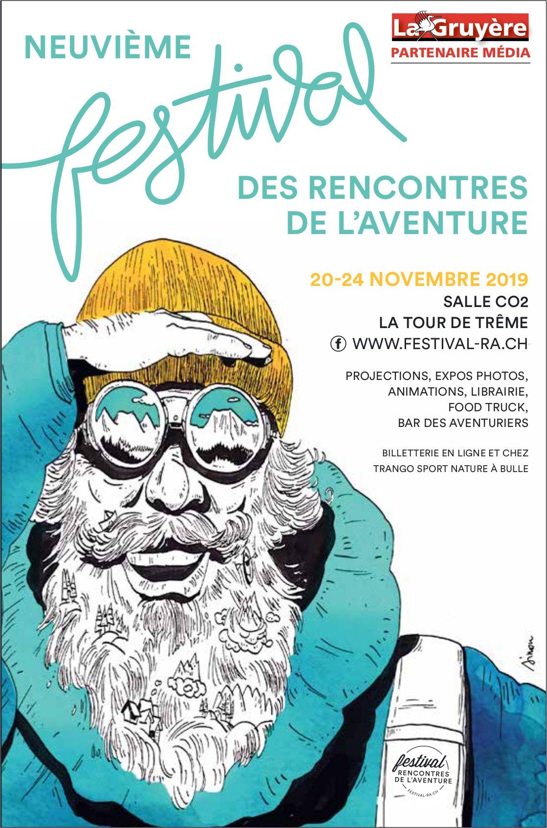 NEUVIÈME FESTIVAL DES RENCONTRES DE L'AVENTURE, NOVEMBRE, SALLE CO2, LA TOUR-DE- TRÊME