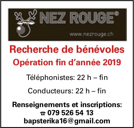 NEZ ROUGE, Recherche de bénévoles - opération de fin d'année