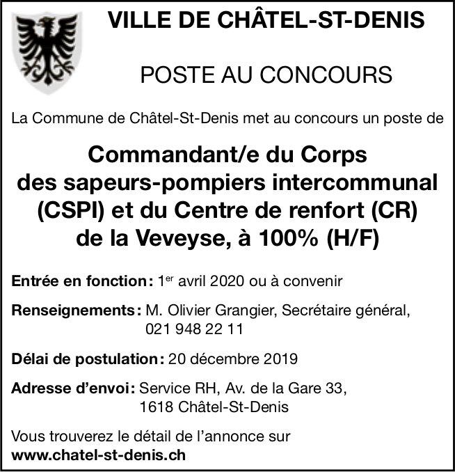 Commandant/e du CSPI et du CR de la Veveyse (100%), Châtel-St-Denis, recherché/e