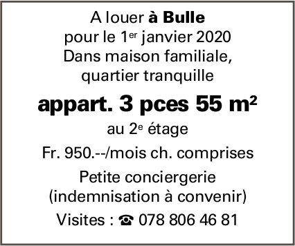 Appartement 3 pièces 55m2, Bulle, à louer