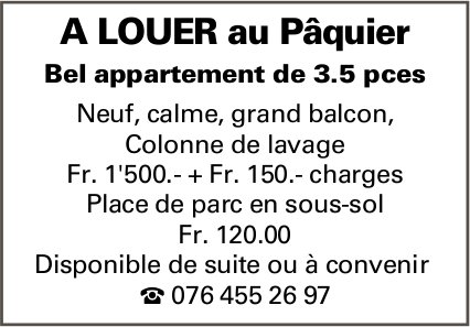 Appartement 3.5 pièces, Le Pâquier, à louer