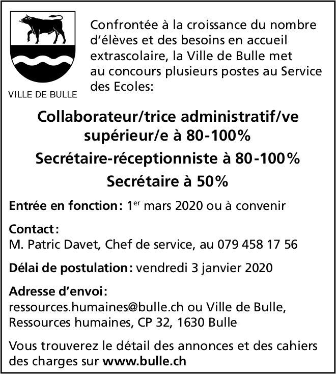 Collaborateur/trice administratif/ve supérieur/e à 80-100%, Ville de Bulle, recherché/e