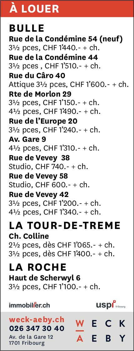 WECK AEBY, Fribourg, immobilier à louer