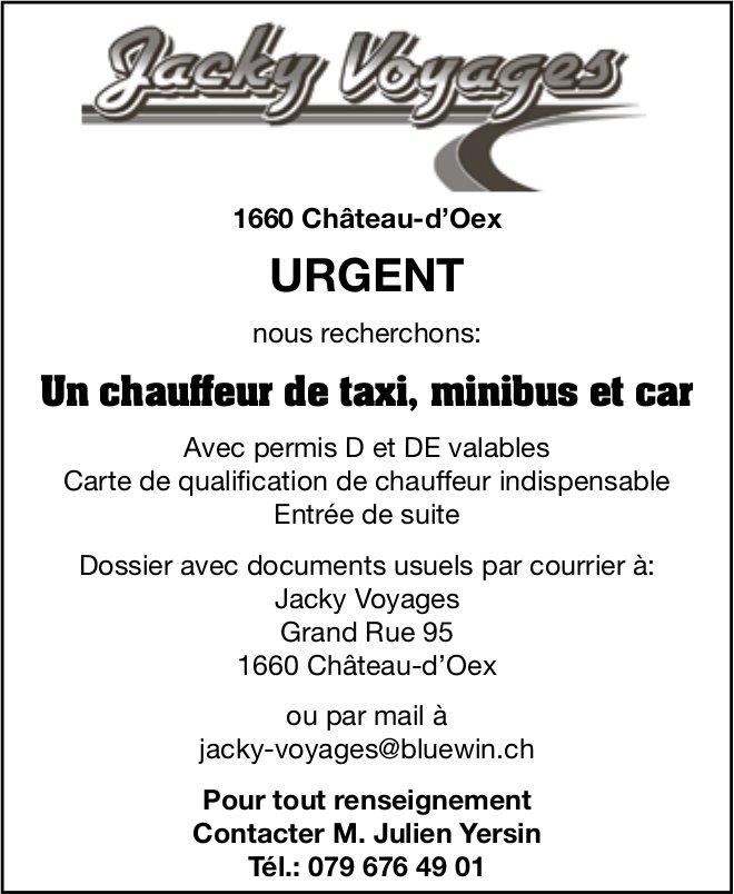 Un chauffeur de taxi, minibus et car, Jacky Voyages, Château-d'Oex, recherché