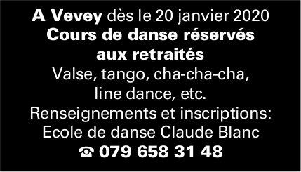 Ecole de danse Claude Blanc, Vevey, Cours de danse réservés aux retraités