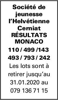 Société de jeunesse l'Helvétienne Cerniat - Résultats Monaco