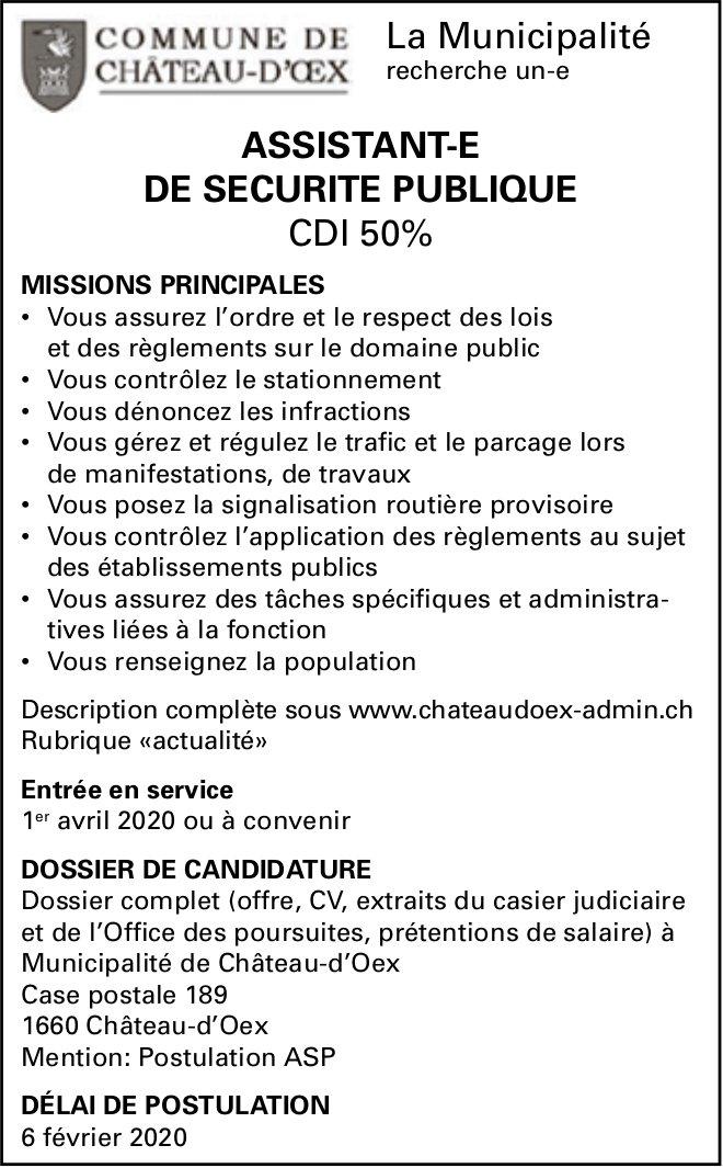 Assistant-e de sécurité publique CDI 50%, La Municipalité, Château d'Oex, recherché