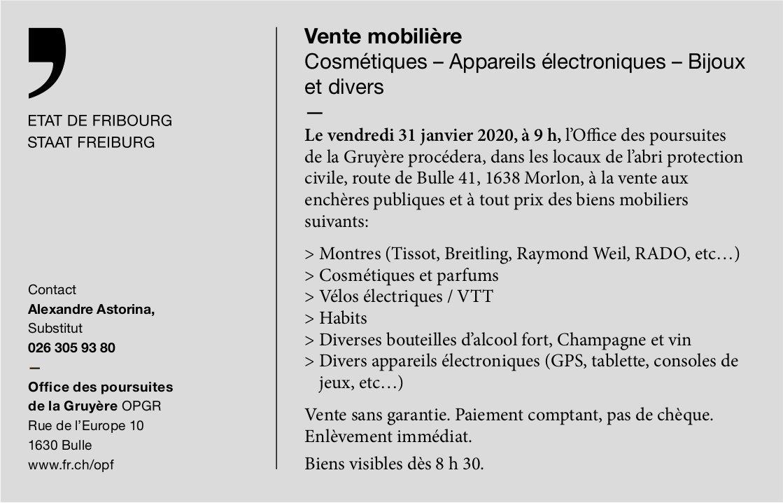 Vente Cosmétiques – Appareils électroniques – Bijoux, 31 janvier, Office des poursuite, Gruyère