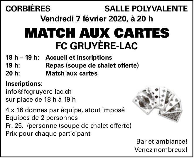 MATCH AUX CARTE, 7 Février, Salle polyvalente, Corbières