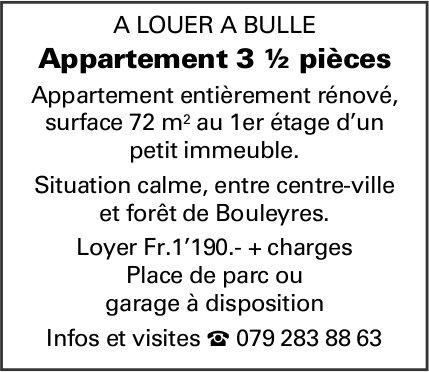 Appartement 3 ½ pièces, 3.5 pièces, Bulle, à louer