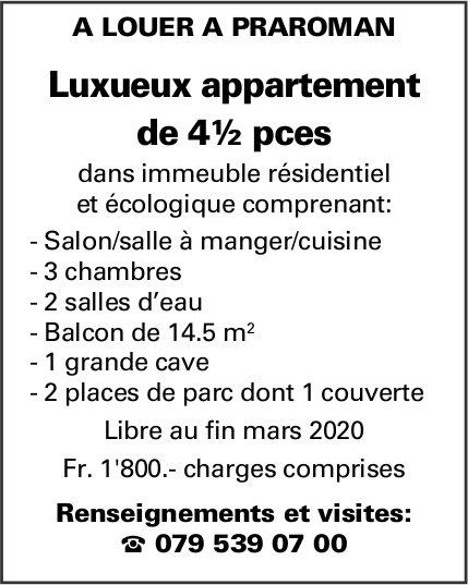 Luxueux appartement de 4½ pièces, Praroman, à louer