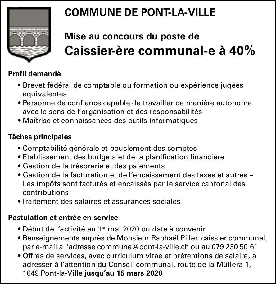 Mise au concours du poste de Caissier-ère communal-e à 40%, Commune de Pont-la-Ville, recherché