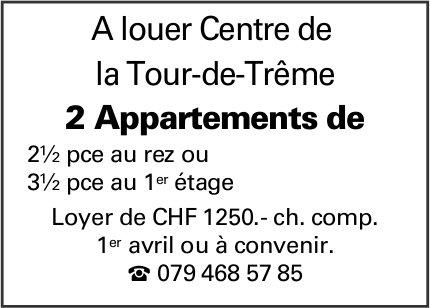2 appartements 2.5 et 3.5 pièces, , La Tour-de-Trême, à louer