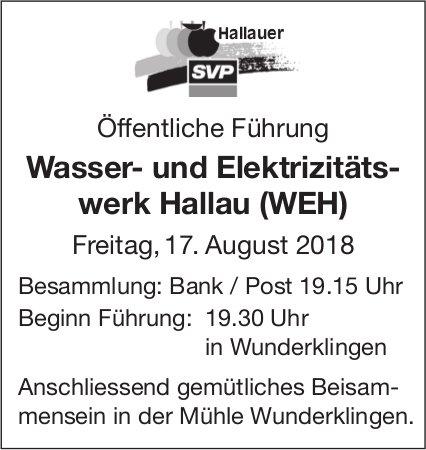 Wasser- und Elektrizitätswerk Hallau (WEH), öffentliche Führung, 17. August
