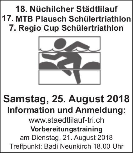 18. Nüchilcher Städtlilauf, 17. MTB Plausch Schülertriathlon, 7. Regio Cup Schülertriathlon