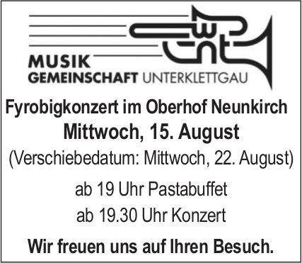 Fyrobigkonzert im Oberhof Neunkirch am Mittwoch, 15. August