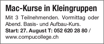 Mac-Kurse in Kleingruppen, Start 27. August bei Campu College