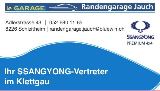 Randengarage Jauch, Schleitheim - Ihr SSANGYONG-Vertreter im Klettgau