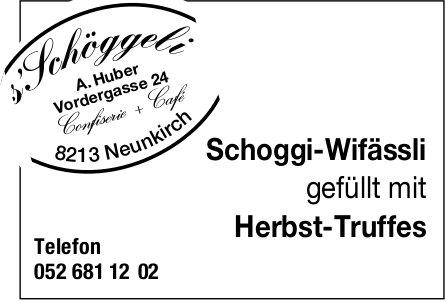 s'Schöggeli, Neunkirch - Schoggi-Wifässli gefüllt mit Herbst-Truffes