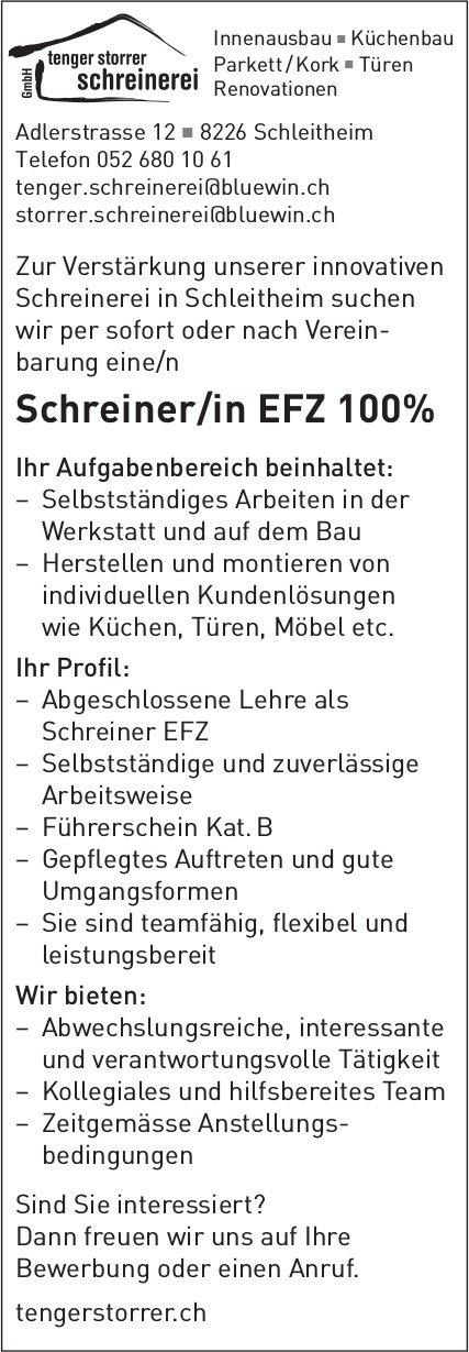 Schreiner/in EFZ, Tenger Storrer Schreinerei, Schleitheim, gesucht