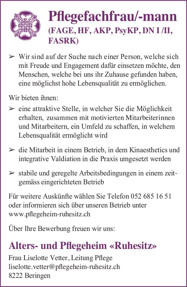 Pflegefachfrau/-mann (FAGE, HF, AKP, PsyKP, DN I /II, FASRK), Ruhesitz, Beringen, gesucht