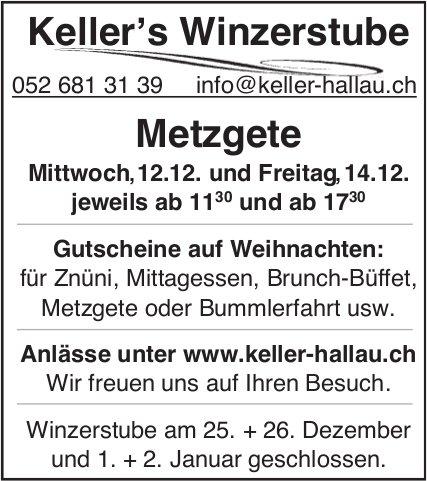 Metzgete, 12. + 14. Dezember, Keller's Winzerstube, Hallau