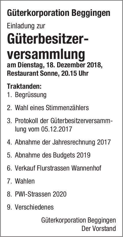 Güterbesitzerversammlung, 18. Dezember, Restaurant Sonne, Beggingen
