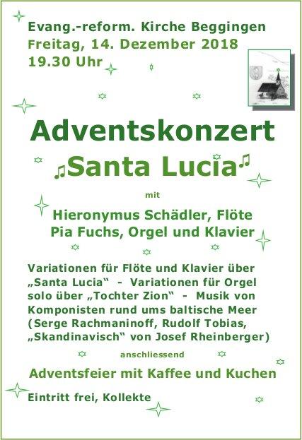 Adventskonzert Santa Lucia, 14. Dezember, Evang.-reform. Kirche Beggingen