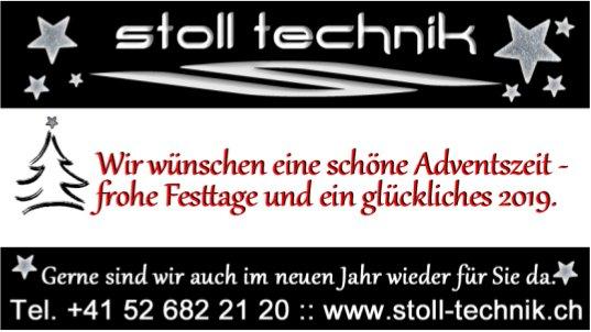 Stoll Technik - Wir wünschen eine schöne Adventszeit, frohe Festtage und ein glückliches 2019.