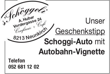 Confiserie & Café s'Schöggeli, Neunkirch - Schoggi-Auto mit Autobahn-Vignette