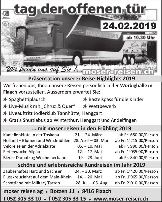 Moser Reisen - Tag der offenen Tür 24.02. - Präsentation unserer Reise-Highlights