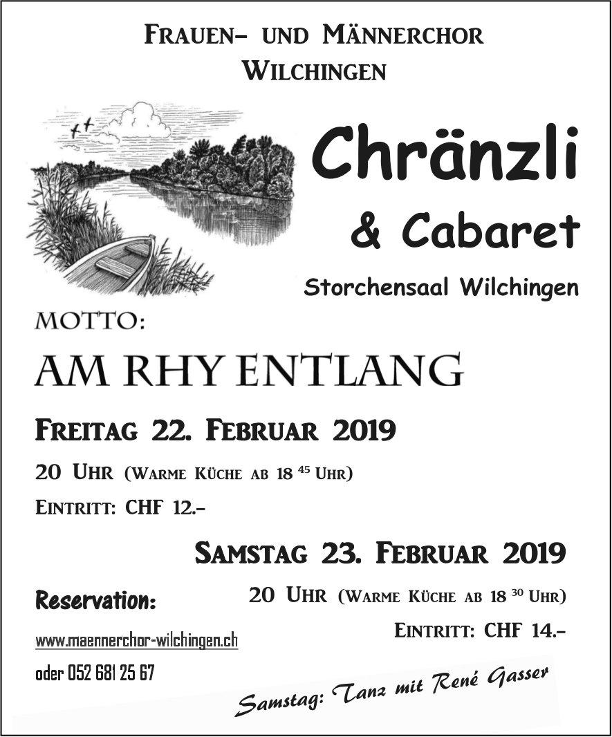 Frauen- und Männerchor - Chränzli & Cabaret am 22. und 23. Februar im Storchensaal Wilchingen