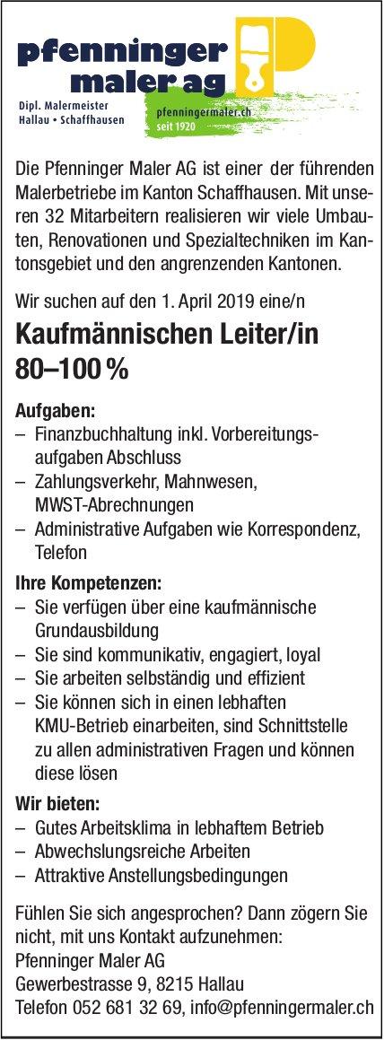 Kaufmännischen Leiter/in vin Pfenninger Maler AG gesucht
