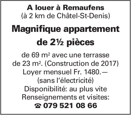 Magnifique appartement de 2½ pièces, Remaufens, à louer