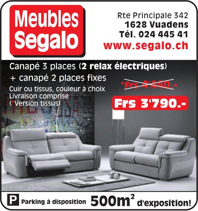 Meubles Segalo, Vuadens, Canapé 3 place + canapé 2 places fixes Frs 3'790.-