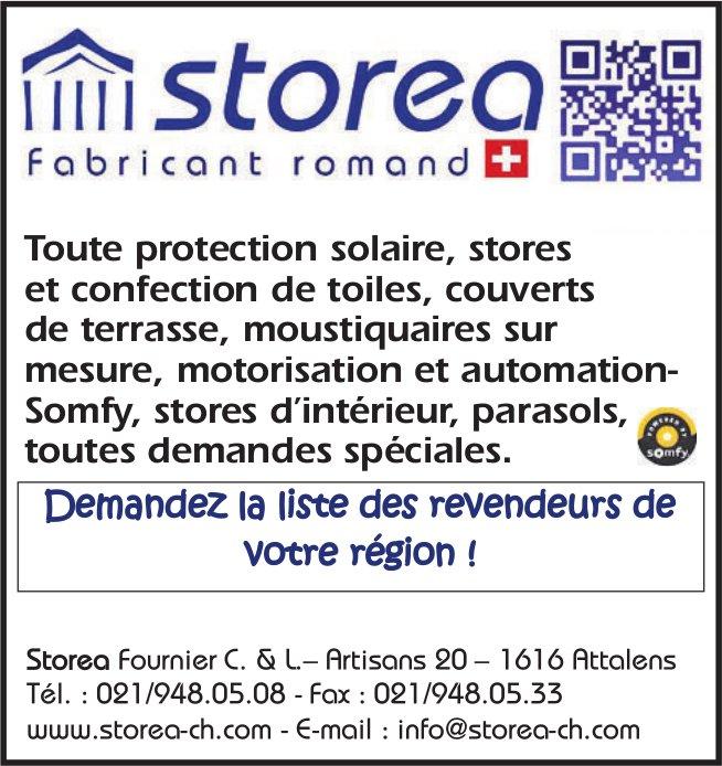 Storea Fabricant romand, Attalens, toute protection solaire, stores