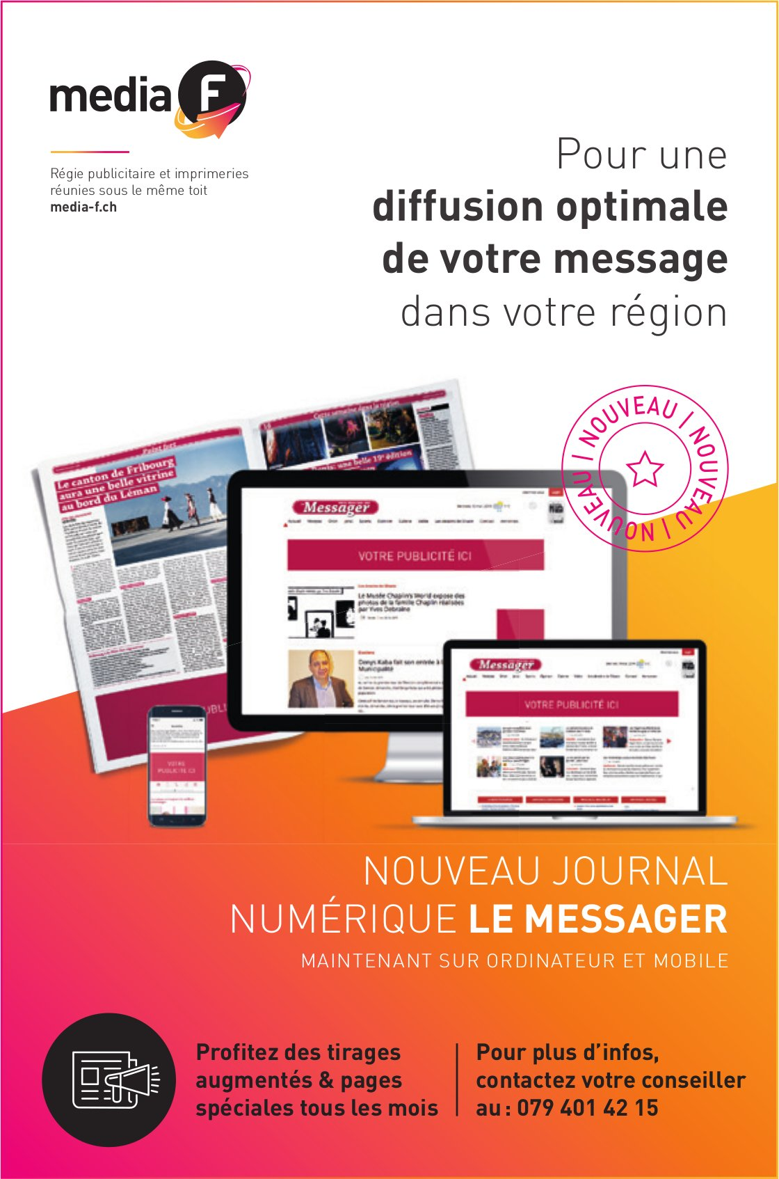 Media F - Pour une diffusion optimale de votre message dans votre région