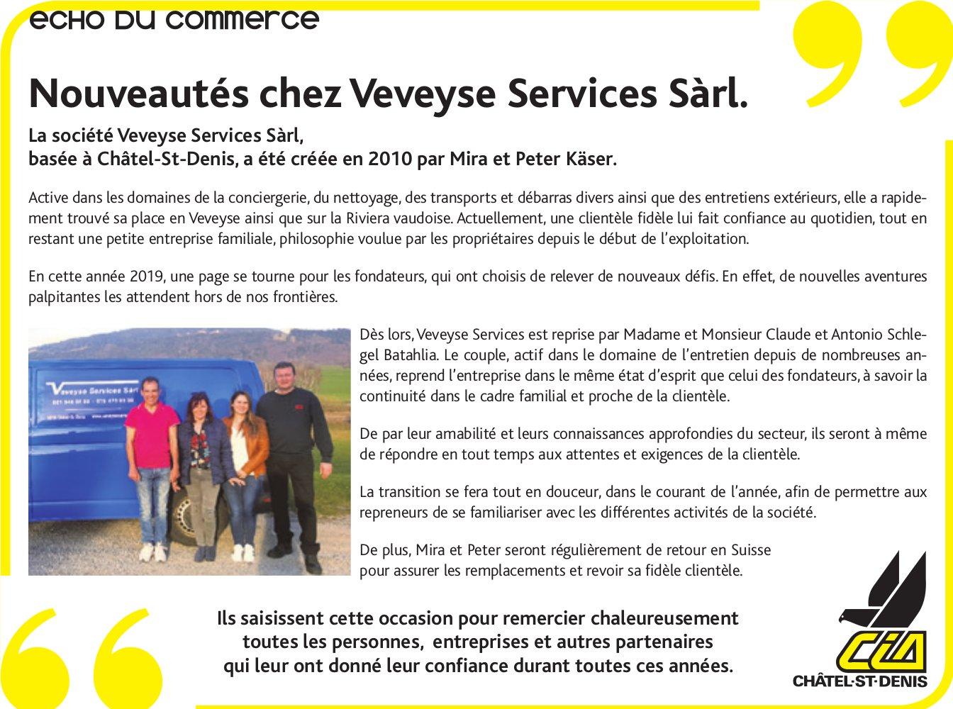 Echo du commerce, Veveyse, Nouveauté chez Veveyse Services Sàrl