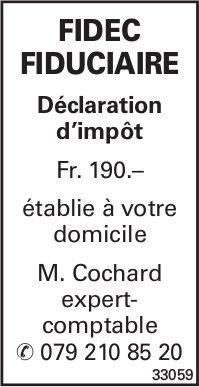 FIDEC FIDUCIAIRE -Déclaration d'impôt Fr. 190.–