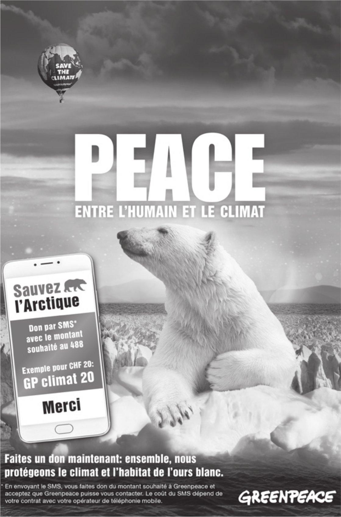 GREENPEACE - PEACE ENTRE l'HUMAIN ET LE CLIMAT
