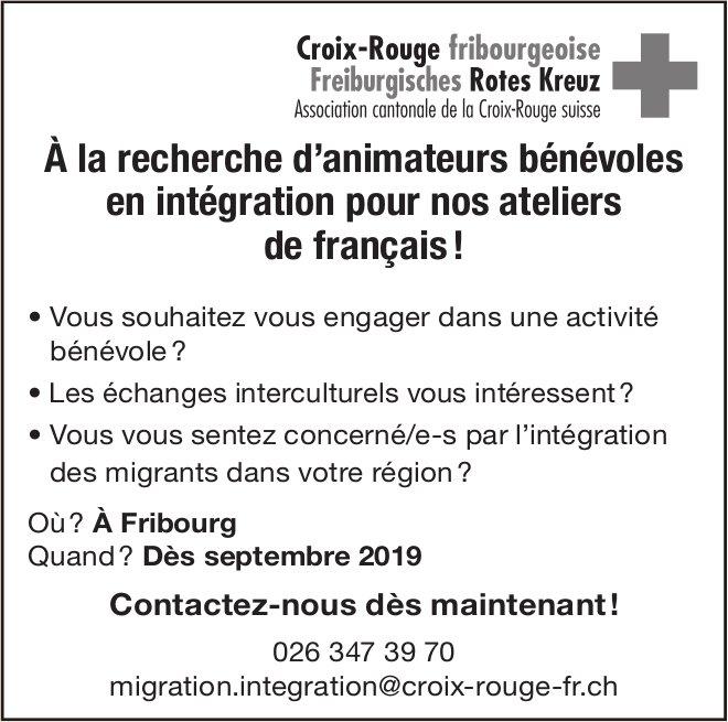 Animateurs bénévoles en intégration pour nos ateliers de français, Croix-Rouge, Fribourg, recherché