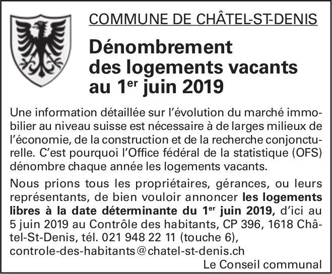 Dénombrement des logements vacants au 1er juin 2019 - Commune de Châtel-St-Denis