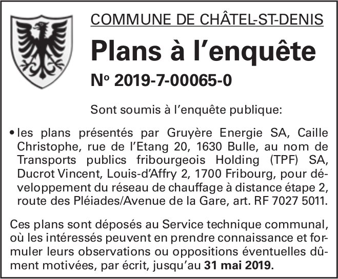 Plans à l'enquête No 2019-7-00065-0 - Commune de Châtel-St-Denis