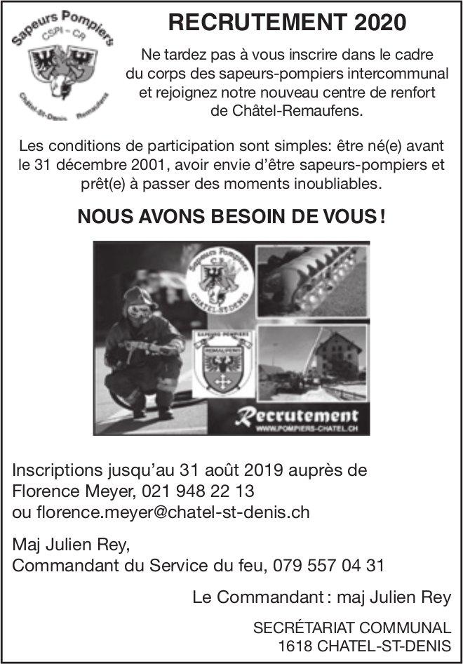 RECRUTEMENT 2020, Sapeurs Pompiers, Châtel-St-Denis, recherché